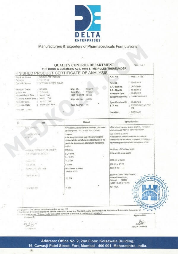 сертификат соответствия виагра 50