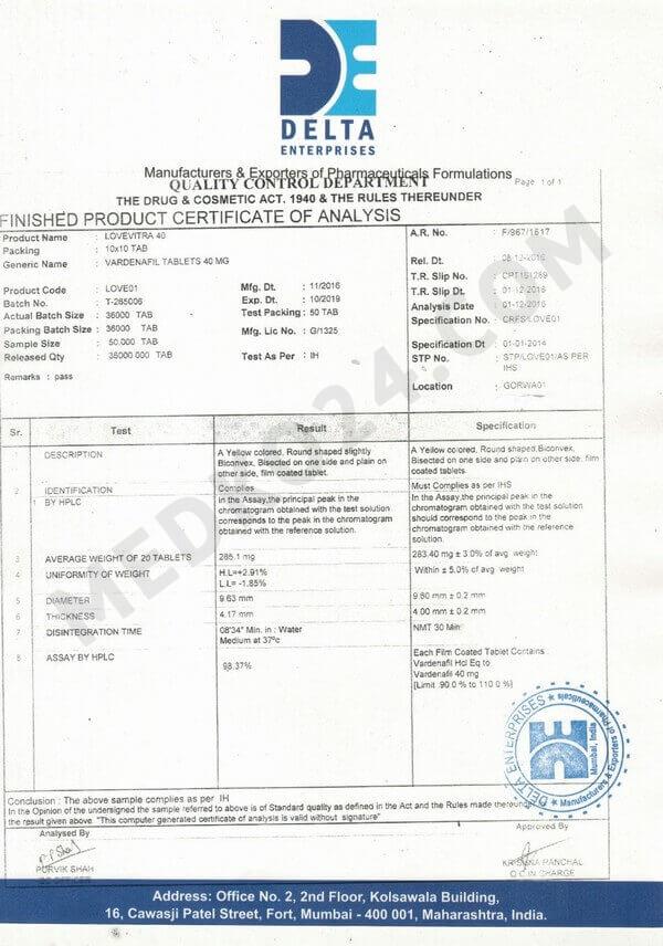 сертификат соответствия левитра