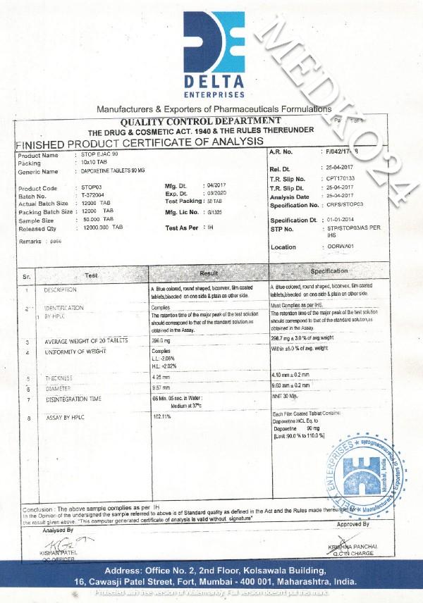 сертификат соответствия дапоксетин 90